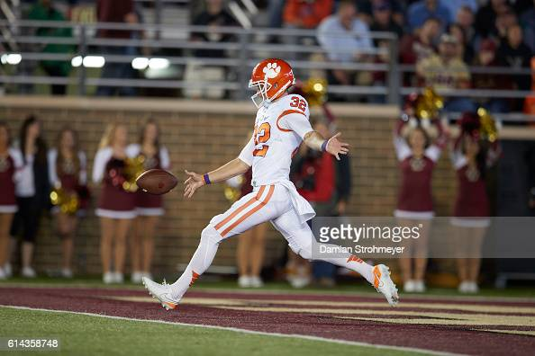 Clemson Andy Teasdall in action punting vs Boston College at Boston College Alumni Stadium Newton MA CREDIT Damian Strohmeyer