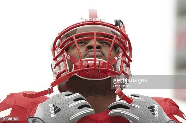 Closeup of Nebraska Ndamukong Suh during game vs Texas Tech Lincoln NE CREDIT Greg Nelson