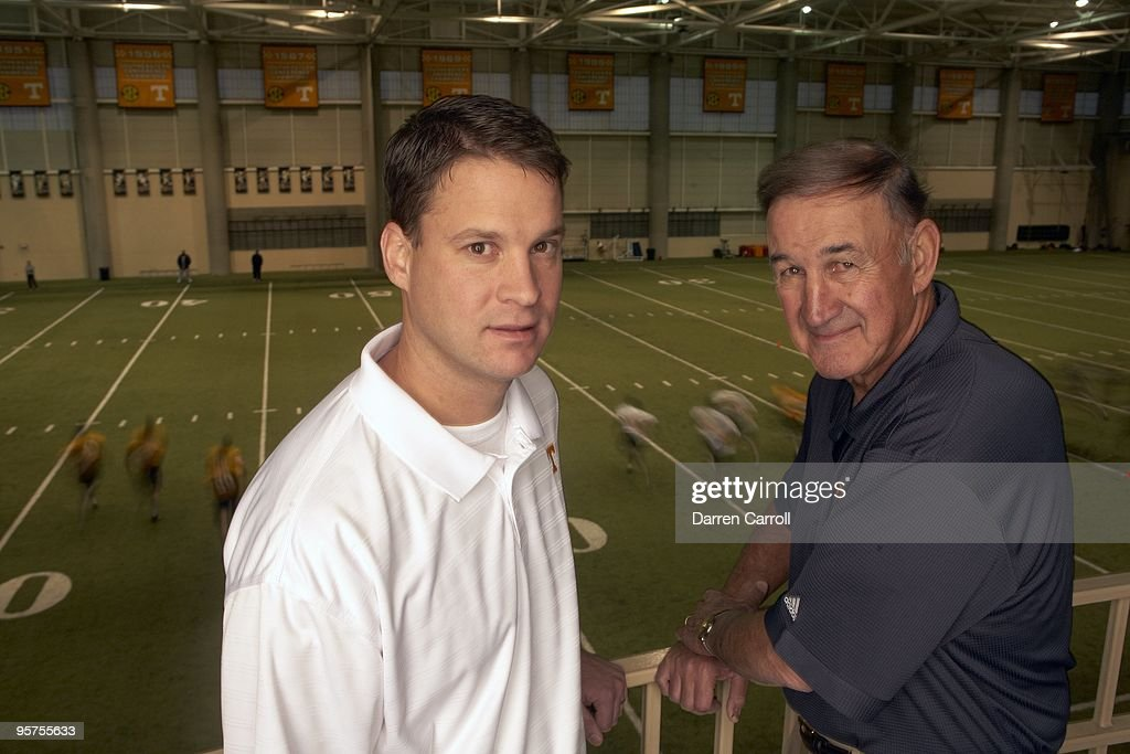 Closeup portrait of Tennessee football coach Lane Kiffin and defensive coordinator Monte Kiffin during photo shoot at NeylandThompson Sports Center...