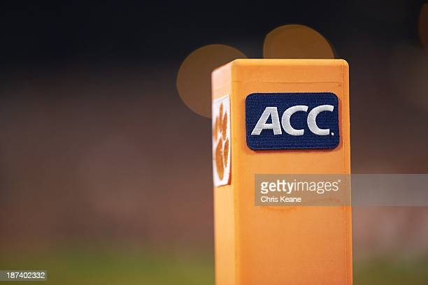 Closeup view of pylon with ACC logo during Clemson vs Florida State game at Memorial Stadium Clemson SC CREDIT Chris Keane