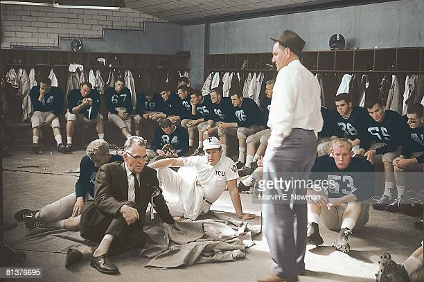 College Football Cotton Bowl TCU coach Othal Abe Martin with team in locker room before game vs Syracuse Dallas TX 1/1/1957