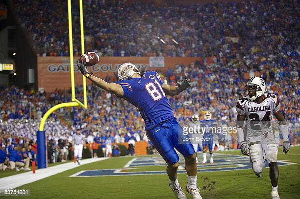Florida Aaron Hernandez in action attempting catch vs South Carolina Gainesville FL CREDIT John Biever