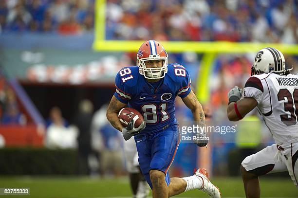 Florida Aaron Hernandez in action rushing vs South Carolina Gainesville FL CREDIT Bob Rosato