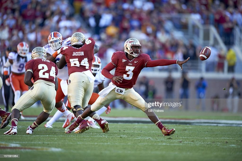Florida State QB EJ Manuel (3) in action, pitching out vs Florida at Doak Campbell Stadium. Bill Frakes F447 )