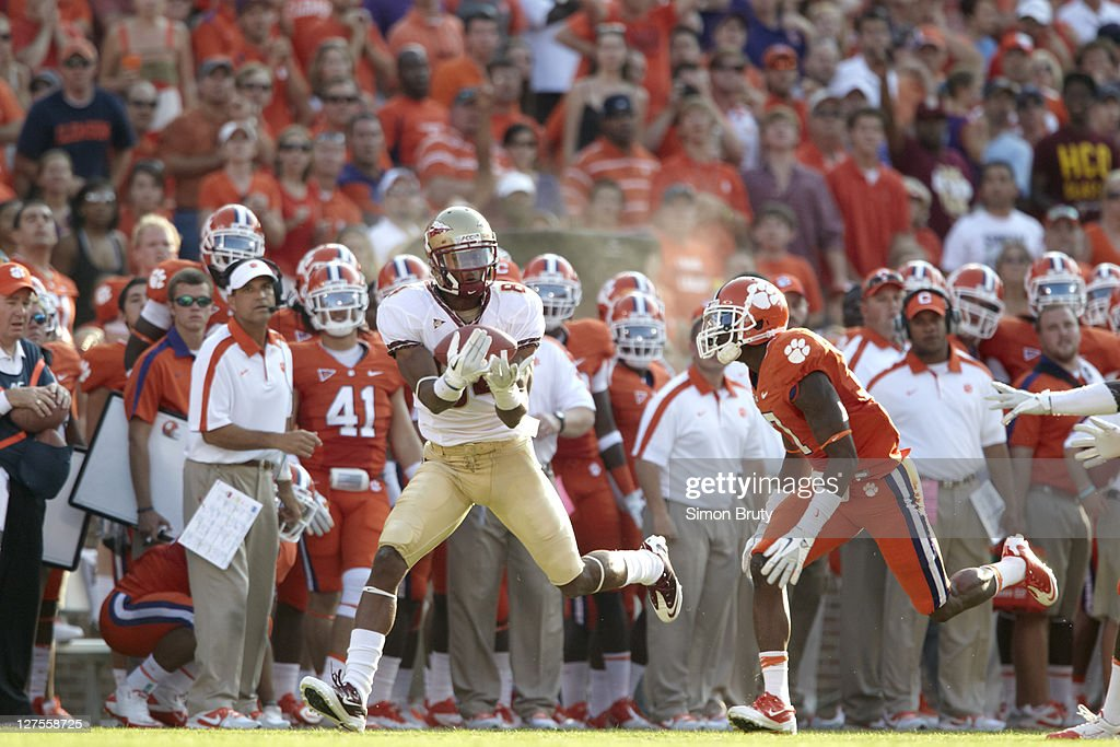 Florida State Rodney Smith (84) in action, making catch vs Clemson at Memorial Stadium. Simon Bruty F123 )