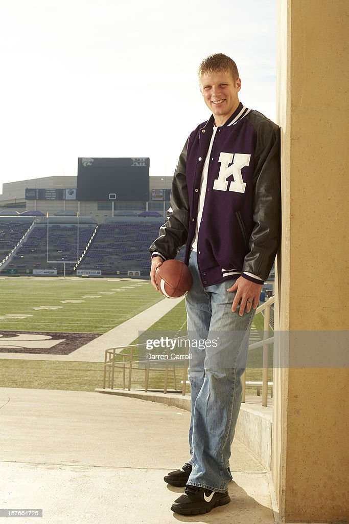 Portrait of Kansas State QB <a gi-track='captionPersonalityLinkClicked' href=/galleries/search?phrase=Collin+Klein&family=editorial&specificpeople=5838707 ng-click='$event.stopPropagation()'>Collin Klein</a> posing casual during photo shoot at Bill Snyder Family Stadium. Darren Carroll F44 )