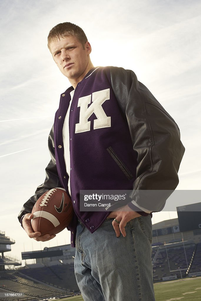 Portrait of Kansas State QB <a gi-track='captionPersonalityLinkClicked' href=/galleries/search?phrase=Collin+Klein&family=editorial&specificpeople=5838707 ng-click='$event.stopPropagation()'>Collin Klein</a> posing casual during photo shoot at Bill Snyder Family Stadium. Darren Carroll F1 )