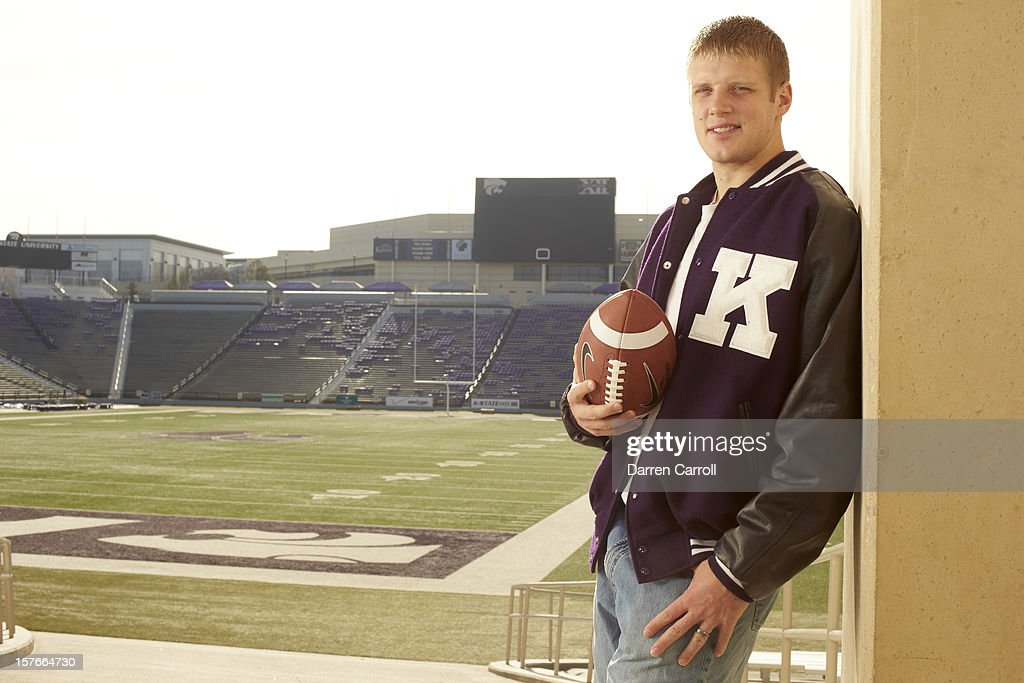 Portrait of Kansas State QB <a gi-track='captionPersonalityLinkClicked' href=/galleries/search?phrase=Collin+Klein&family=editorial&specificpeople=5838707 ng-click='$event.stopPropagation()'>Collin Klein</a> posing casual during photo shoot at Bill Snyder Family Stadium. Darren Carroll F20 )