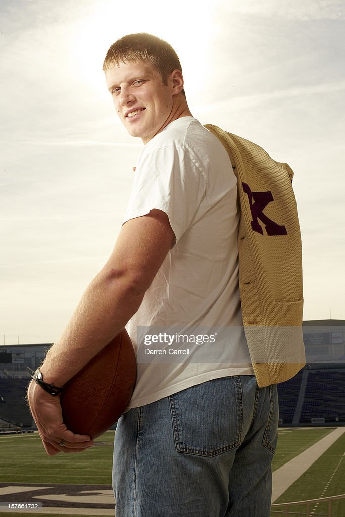 Portrait of Kansas State QB <a gi-track='captionPersonalityLinkClicked' href=/galleries/search?phrase=Collin+Klein&family=editorial&specificpeople=5838707 ng-click='$event.stopPropagation()'>Collin Klein</a> posing casual during photo shoot at Bill Snyder Family Stadium. Darren Carroll F46 )