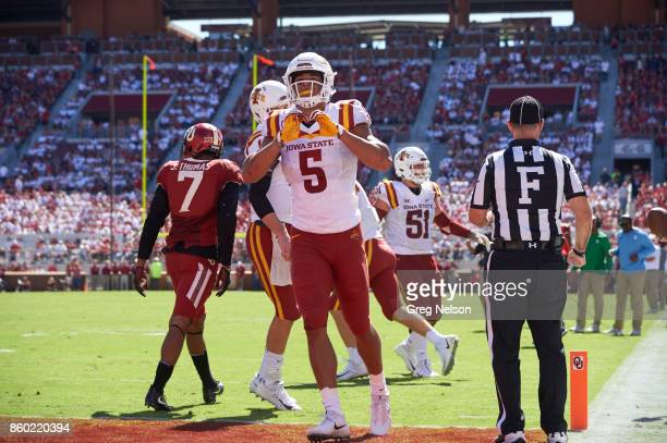 Iowa State Allen Lazard victorious making shape of heart with hands during game vs Oklahoma at Gaylord Family Oklahoma Memorial Stadium Norman OK...