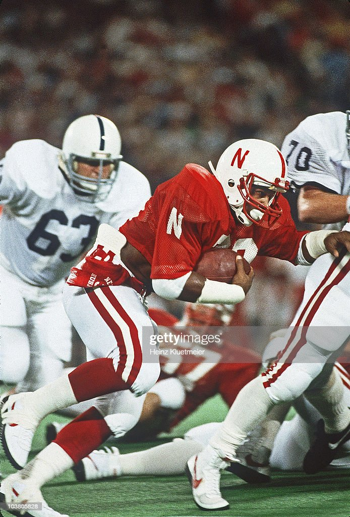 Nebraska Mike Rozier (30) in action, rushing vs Penn State. East Rutherford, NJ 8/29/1983