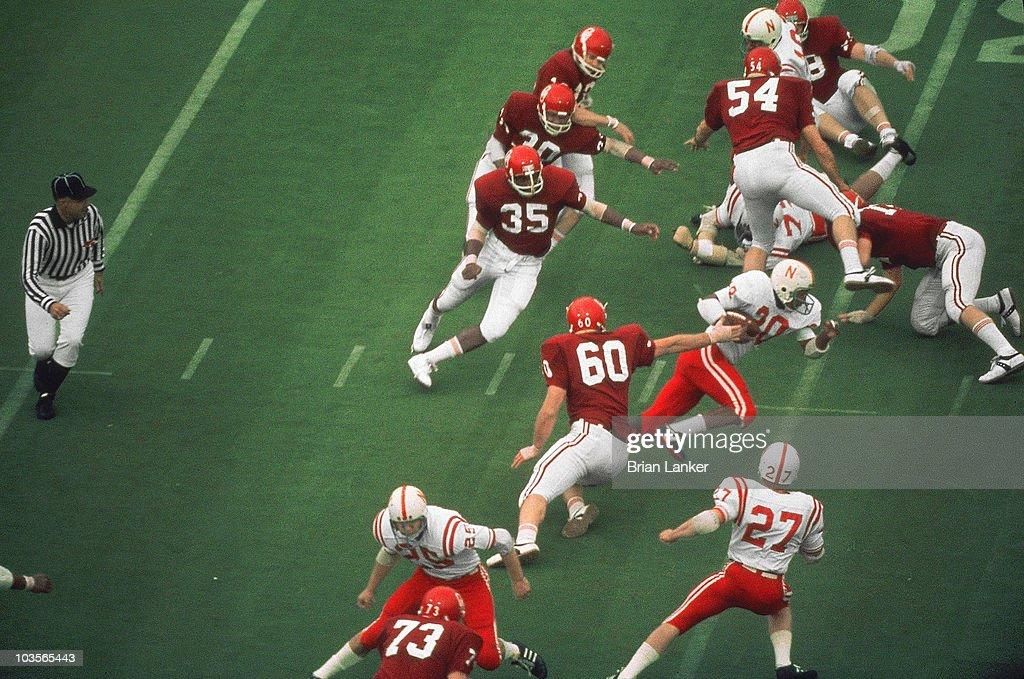 Nebraska Johnny Rodgers in action, returning punt for ...
