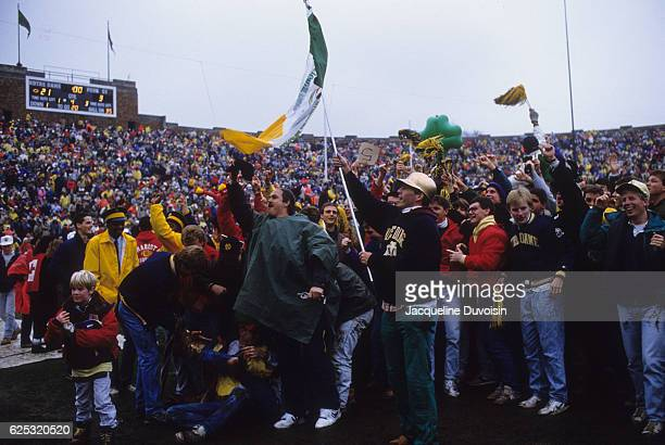 Notre Dame fans on field after winning game vs Penn State at Notre Dame Stadium South Bend IN CREDIT Jacqueline Duvoisin