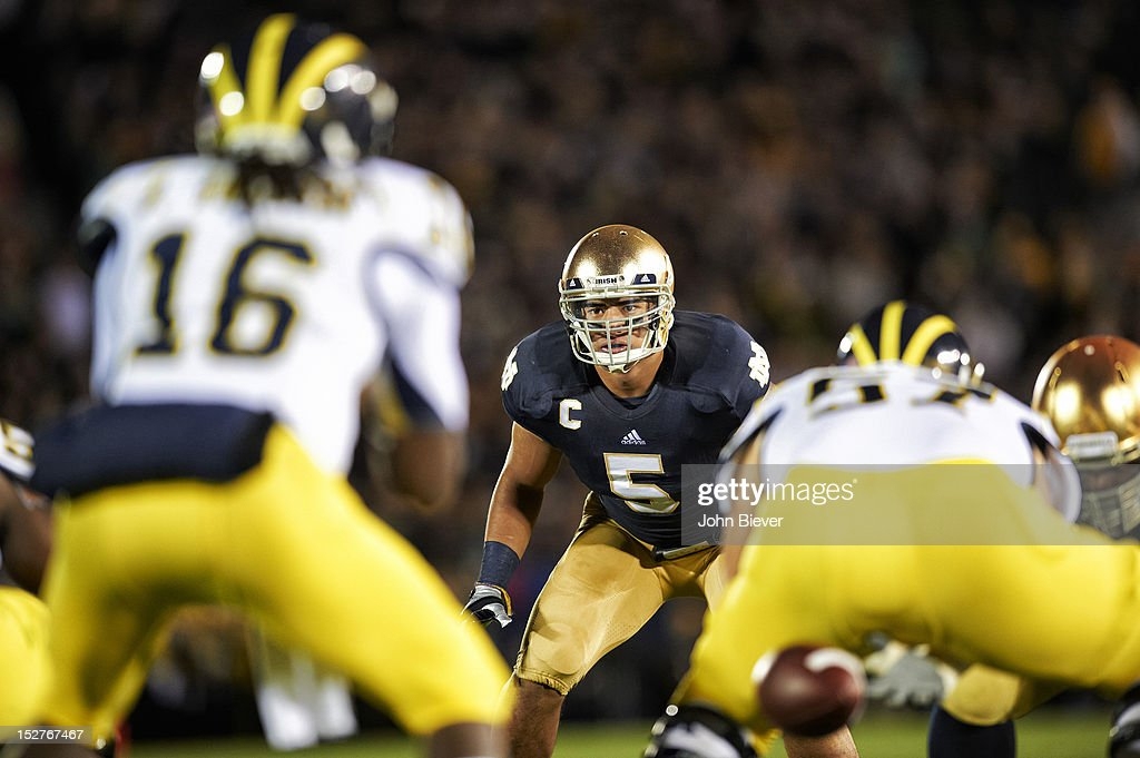 Notre Dame Manti Te'o (5) on field before snap during game vs Michigan at Notre Dame Stadium. Cover. John Biever F36 )