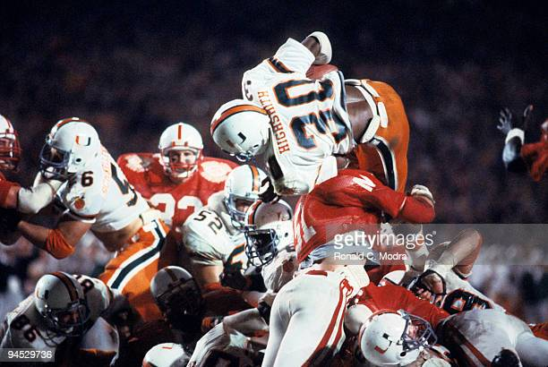 Orange Bowl Miami Alonzo Highsmith in action diving for touchdown vs Nebraska Miami FL 1/2/1984 CREDIT Ronald C Modra
