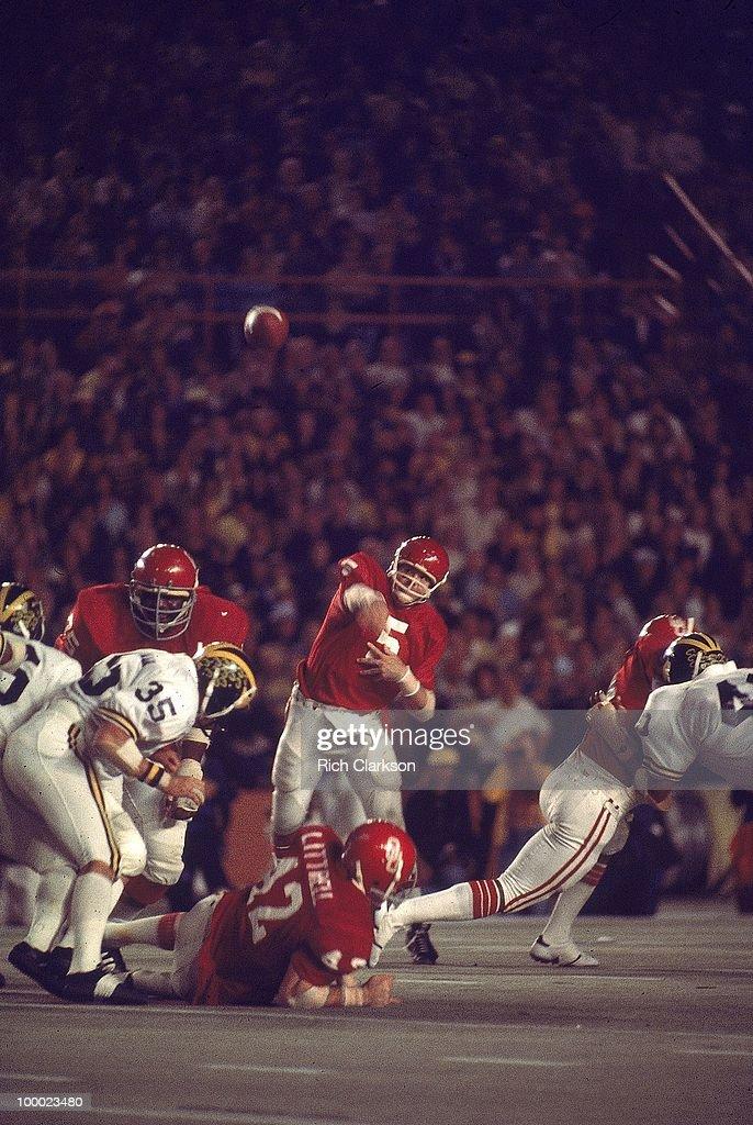Oklahoma QB Steve Davis (5) in action, pass vs Michigan. Miami, FL 1/1/1976