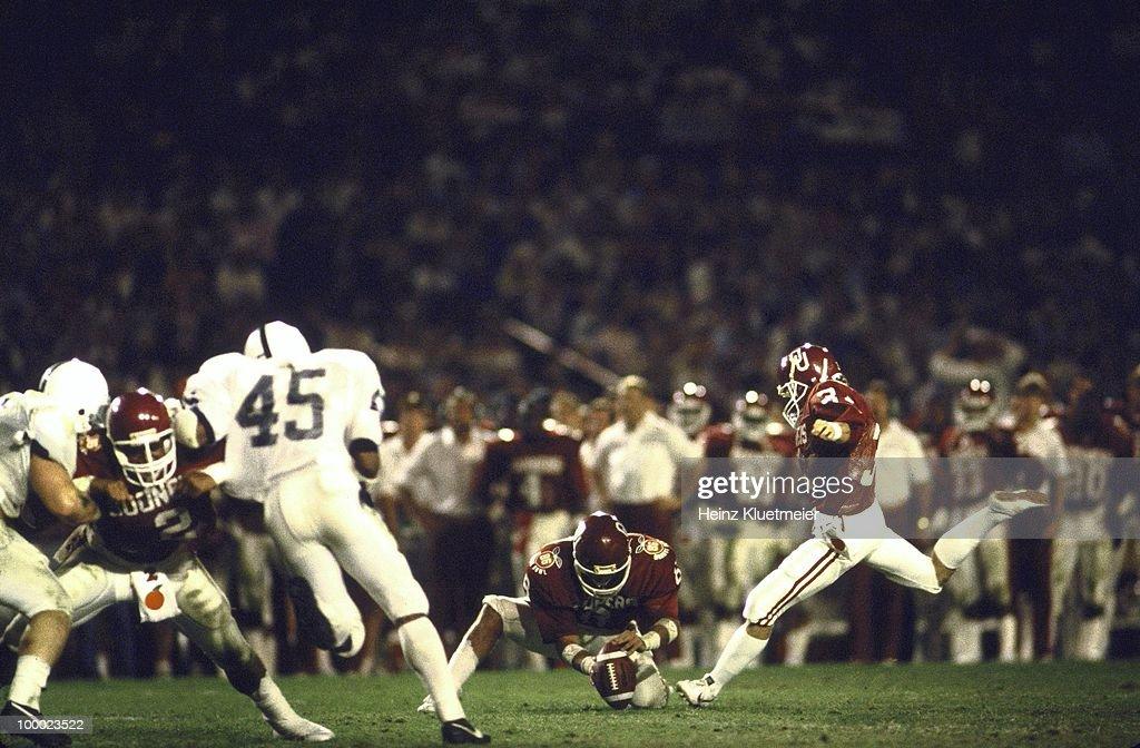 Oklahoma Tim Lashar (31) in action, field goal kick vs Penn State. Miami, FL 1/1/1986