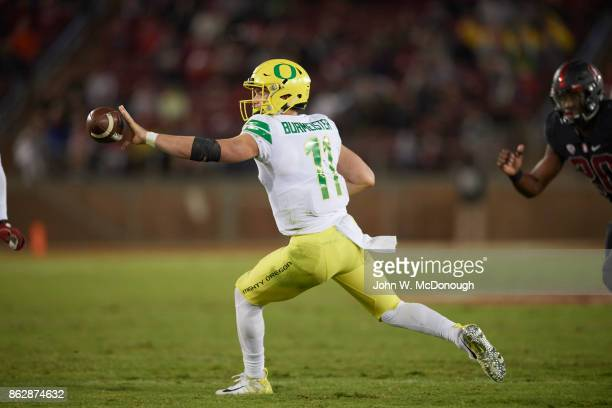Oregon QB Braxton Burmeister in action passing vs Stanford at Stanford Stadium Burmeister with shovel pass Stanford CA CREDIT John W McDonough