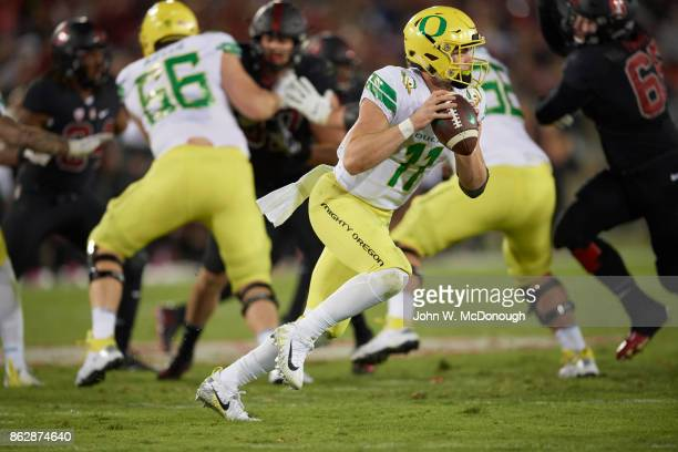 Oregon QB Braxton Burmeister in action vs Stanford at Stanford Stadium Stanford CA CREDIT John W McDonough