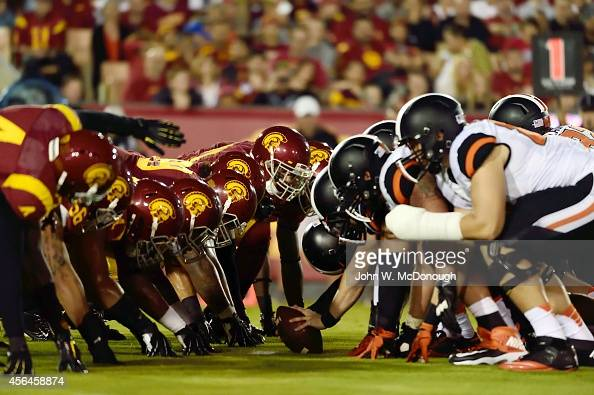 Oregon State offensive line at line of scrimmage vs USC defensive line during game at Los Angeles Memorial Coliseum Los Angeles CA CREDIT John W...