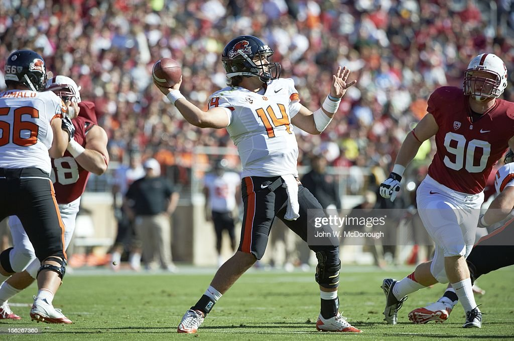 Oregon State QB Cody Vaz (14) in action, pass vs Stanford at Stanford Stadium. John W. McDonough F258 )