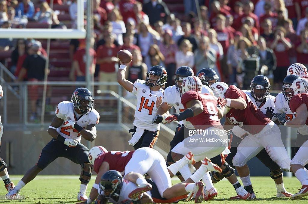Oregon State QB Cody Vaz (14) in action, pass vs Stanford at Stanford Stadium. John W. McDonough F175 )