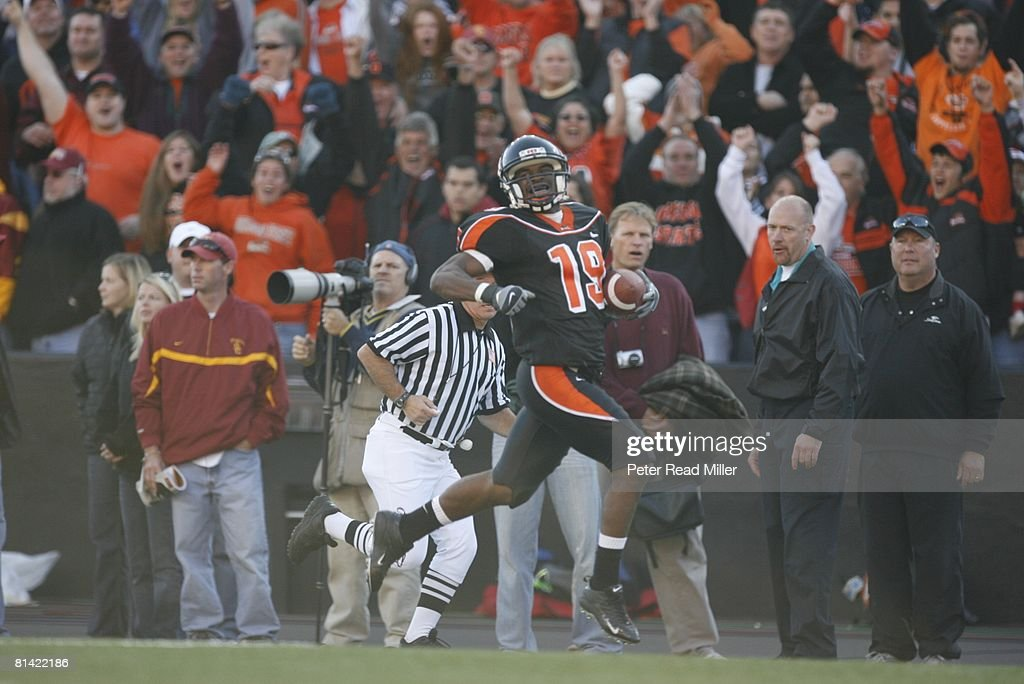 College Football Oregon State Sammie Stroughter in action rushing vs USC Corvallis OR
