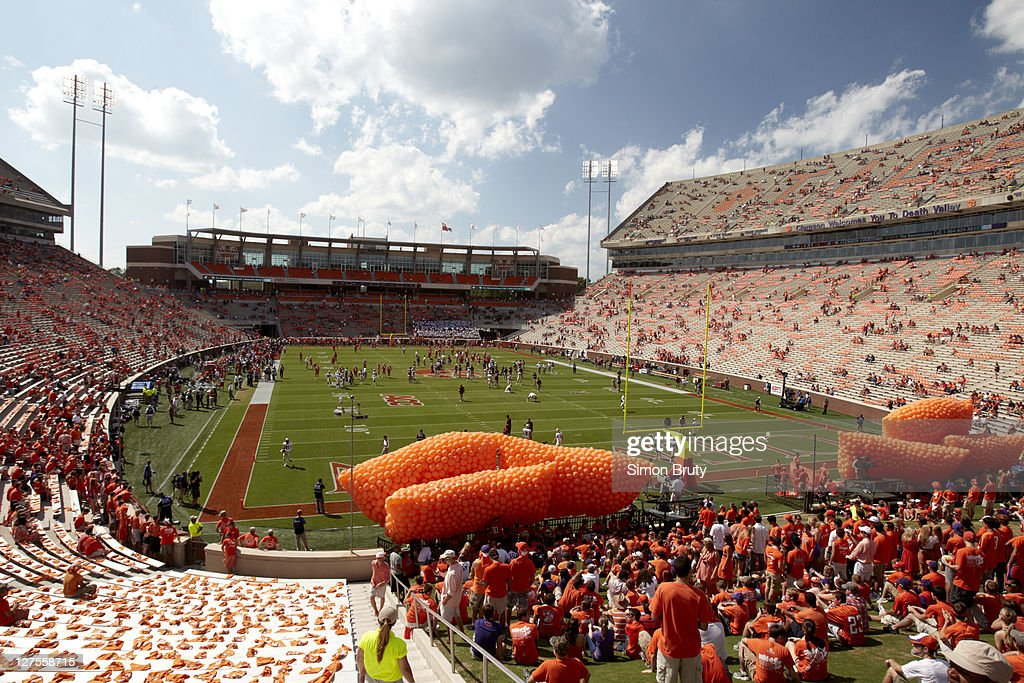 Overall view of Death Valley with orange balloons at Memorial Stadium before Clemson vs Florida State game. Simon Bruty F2 )