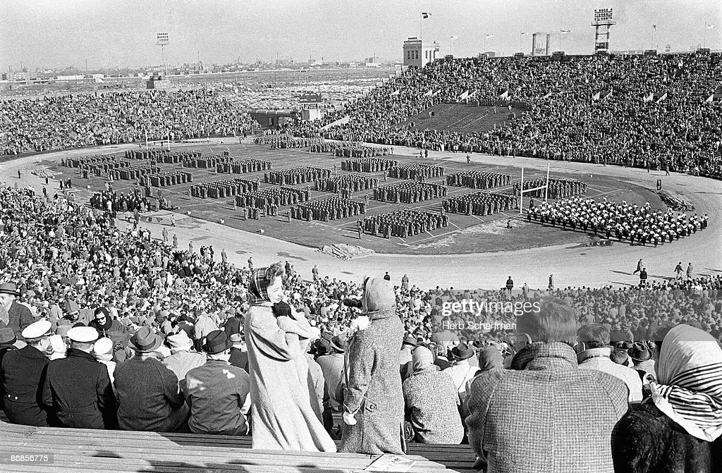 Overall view of fans in stands during halftime of Army vs Navy game at Municipal Stadium. Philadelphia, PA