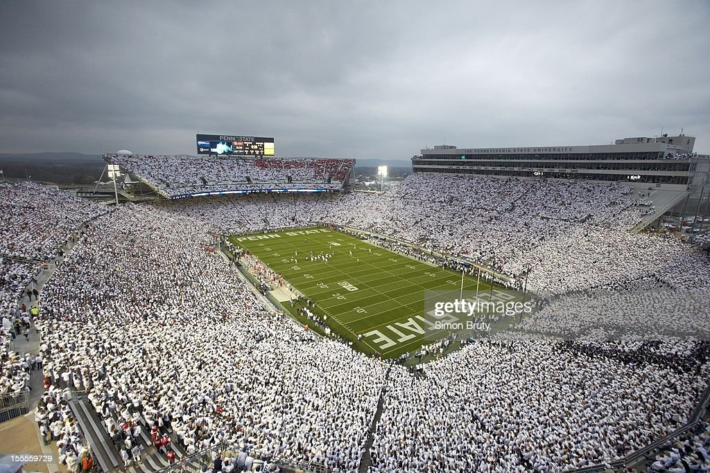 Overall view of Penn State fans wearing all white in stands during 'White Out' game vs Ohio State at Beaver Stadium. Simon Bruty F39 )