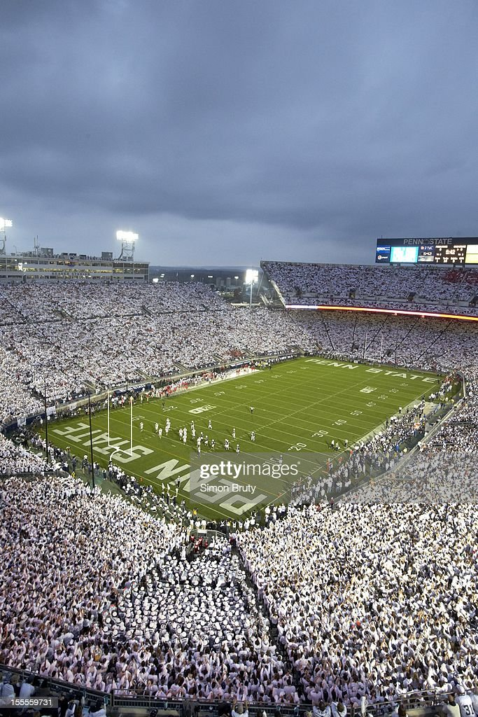 Overall view of Penn State fans wearing all white in stands during 'White Out' game vs Ohio State at Beaver Stadium. Simon Bruty F14 )