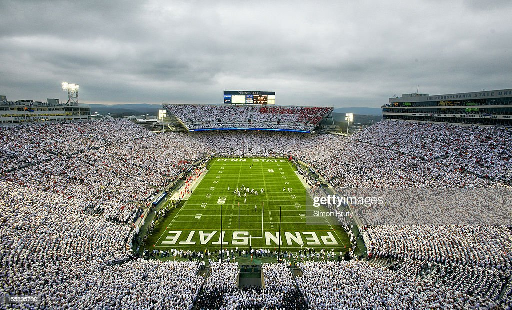 Overall view of Penn State fans wearing all white in stands during 'White Out' game vs Ohio State at Beaver Stadium. Cover. Simon Bruty F76 )