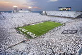 Overall view of Penn State fans wearing all white in stands at Beaver Stadium during 'White Out' game vs Notre Dame With 110078 fans it was the 2nd...