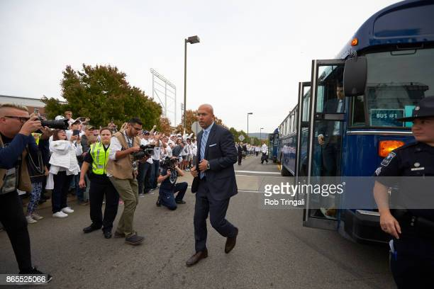 Penn State coach James Franklin coming off of team bus and on his way into Beaver Stadium before game vs Michigan State College PA CREDIT Rob Tringali