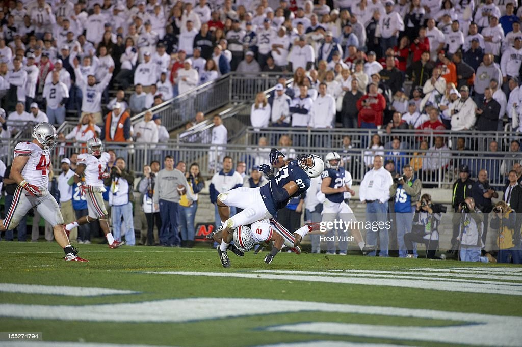 Penn State Kyle Carter (87) in action vs Ohio State Christian Bryant (2) at Beaver Stadium. Fred Vuich F17 )