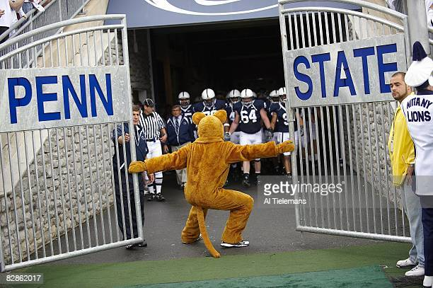 Penn State mascot waiting at gate for Joe Paterno and team before game vs Oregon State University Park PA 9/6/2008 CREDIT Al Tielemans