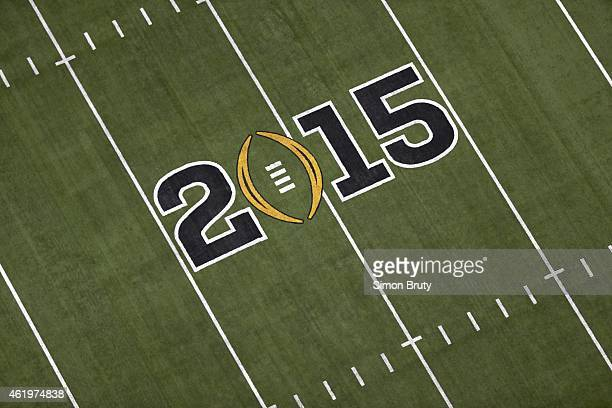 Playoff National Championship Aerial view of logo on field during Ohio State vs Oregon game at ATT Stadium Arlington TX CREDIT Simon Bruty