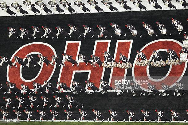 Playoff National Championship Aerial view of Ohio State marching band performing on field before game vs Oregon at ATT Stadium Arlington TX CREDIT...