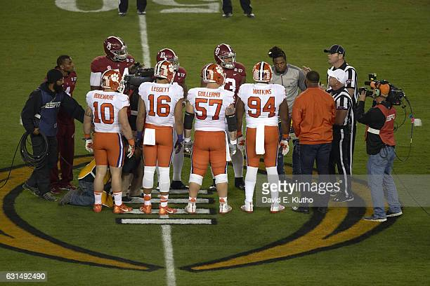 Playoff National Championship Rear view of Clemson Ben Boulware Jordan Leggett Jay Guillermo and Christian Wilkins with Alabama Cam Robinson Reuben...