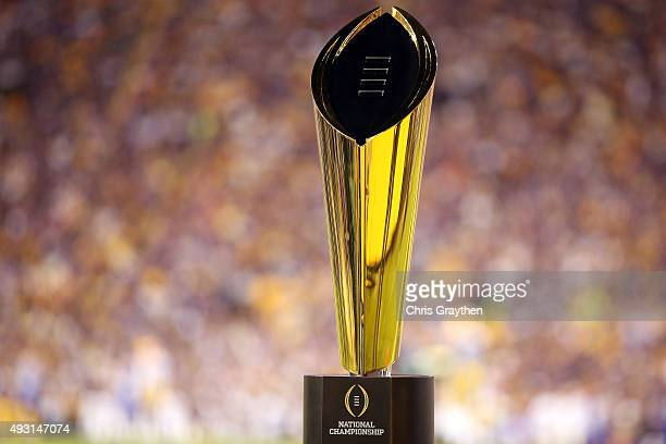 College Football Playoff National Championship Trophy presented by Dr Pepper is seen at Tiger Stadium on October 17 2015 in Baton Rouge Louisiana