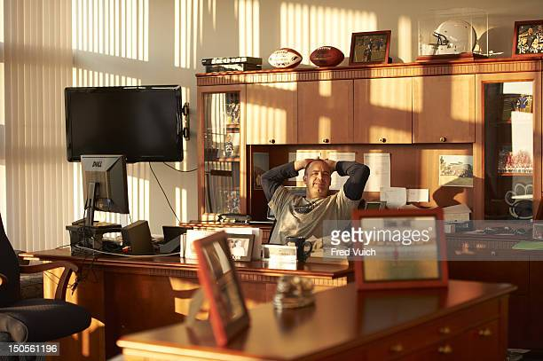 Portrait of Penn State head coach Bill O'Brien in his office during photo shoot at Lasch Football Building on PSU campus State College PA CREDIT Fred...