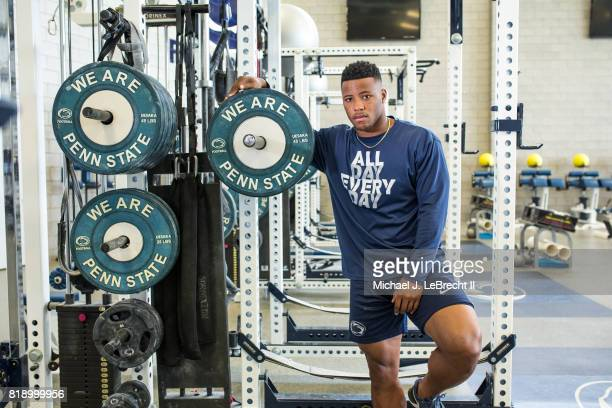 Portrait of Penn State running back Saquon Barkley posing during photo shoot in weight room at Lasch Football Building State College PA CREDIT...