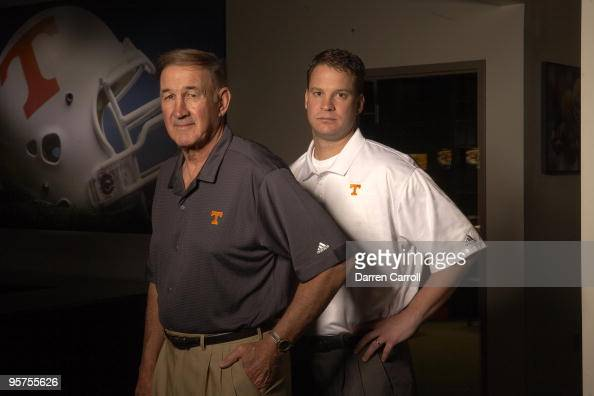 Portrait of Tennessee football coach Lane Kiffin and defensive coordinator Monte Kiffin during photo shoot at NeylandThompson Sports Center on UT...