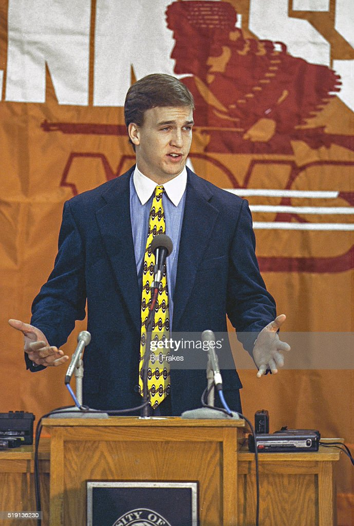 Portrait of Tennessee QB Peyton Manning at podium during press conference to announce his return for senior season Knoxville TN CREDIT Bill Frakes