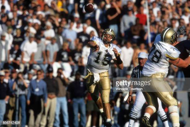 Purdue QB Drew Brees in action making pass vs Penn State at Beaver Stadium University Park PA CREDIT Winslow Townson