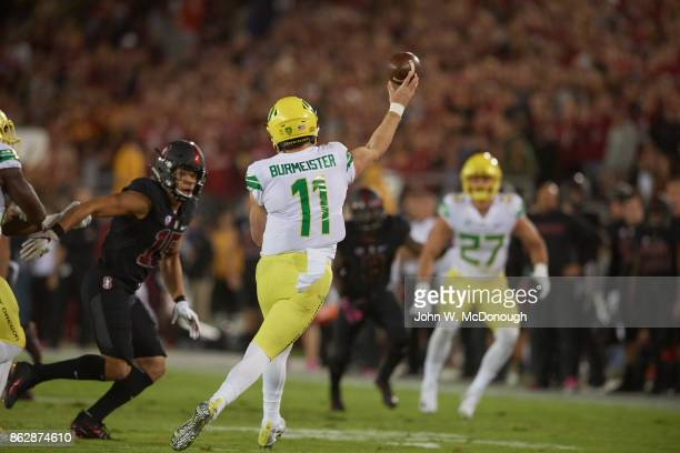 Rear view of Oregon QB Braxton Burmeister in action passing vs Stanford at Stanford Stadium Stanford CA CREDIT John W McDonough