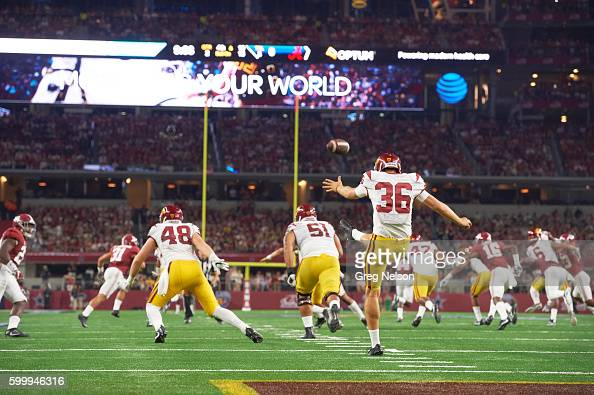 Rear view of USC Chris Tilbey in action punting vs Alabama at ATT Stadium Arlington TX CREDIT Greg Nelson