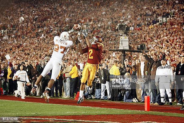 College Football Rose Bowl Texas Michael Griffin in action making goal line interception vs USC Steve Smith BCS Championship Pasadena CA 1/4/2006