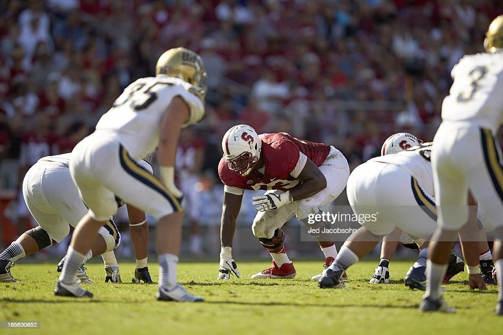 Stanford Cameron Fleming (73) at line of scrimmage during game vs UCLA at Stanford Stadium. Jed Jacobsohn F129 )