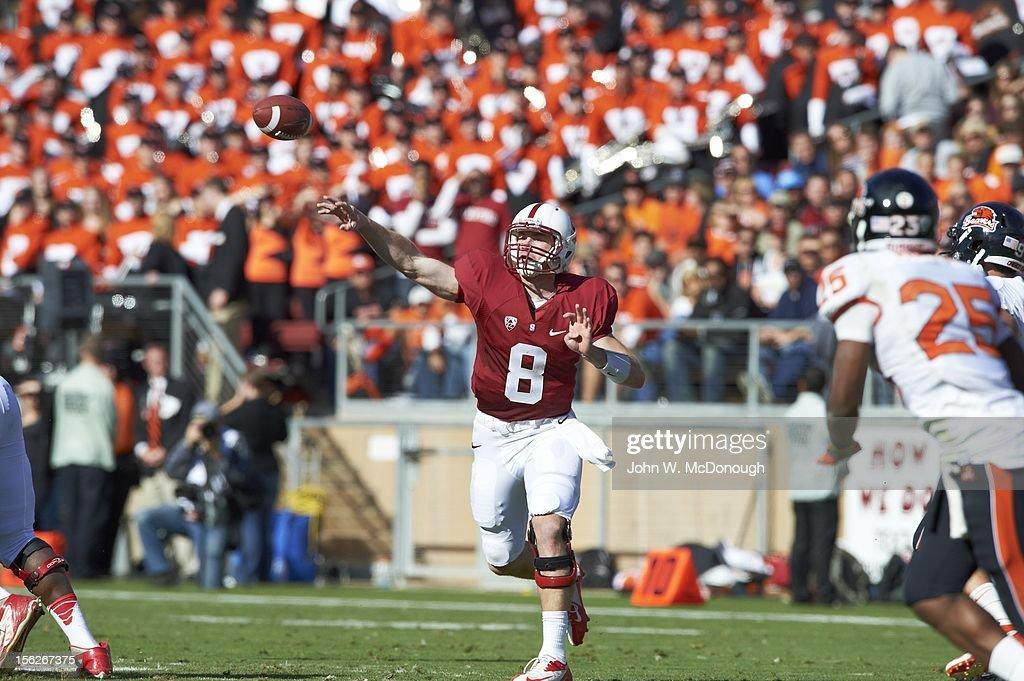 Stanford QB Kevin Hogan (8) in action, pass vs Oregon State at Stanford Stadium. John W. McDonough F240 )